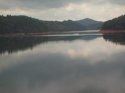 Looking across Lake Hiwassee from Hanging Dog Campground on a cloudy fall day